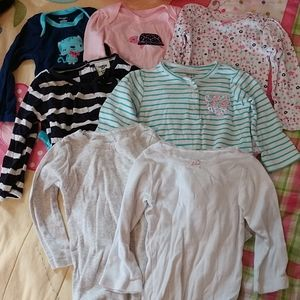 Lot of 7 Girls Long Sleeve onesies size 12 months